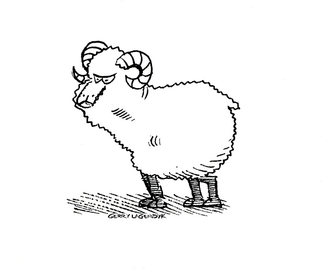 G Lagendyk drawing of an angry ram