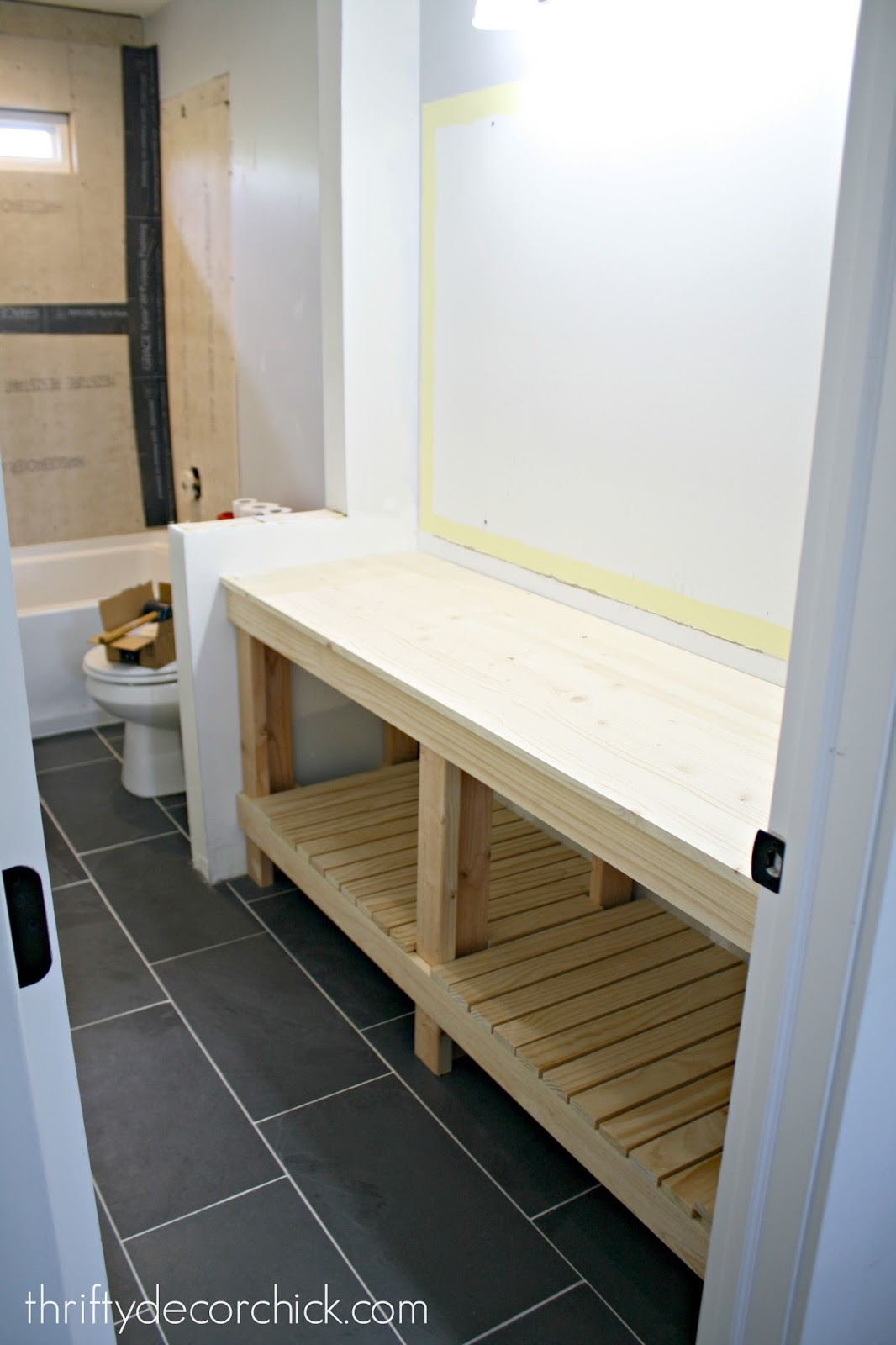How to build a DIY open bathroom vanity from Thrifty Decor ...