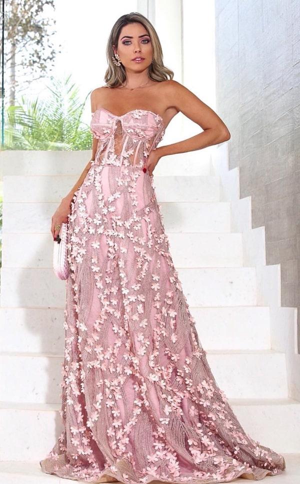 vestido de festa longo rose com flores 3D bordadas