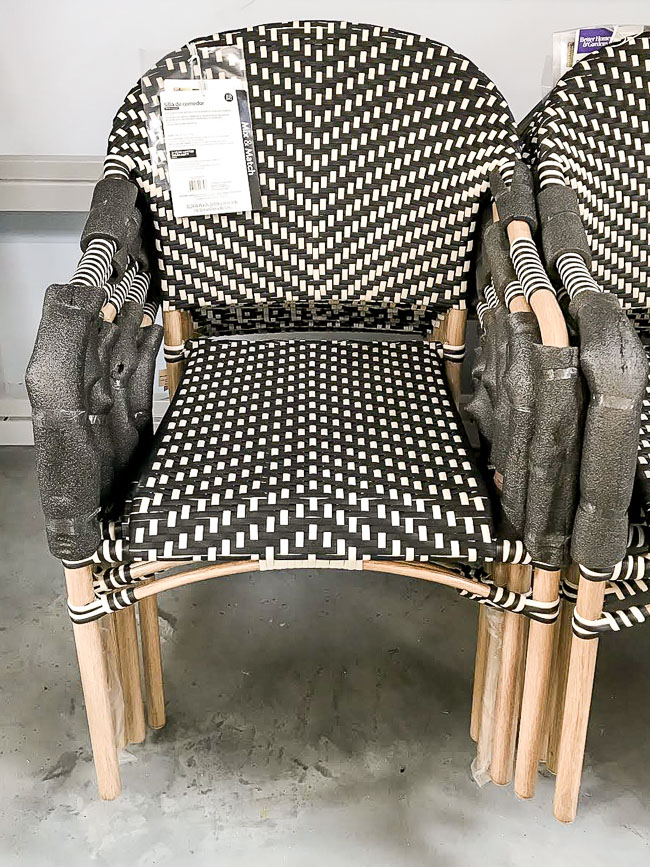 Black and white woven outdoor chairs from walmart