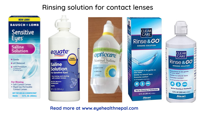 Rinsing solution for contact lenses