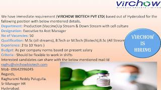 Job Vacancy For B.Sc, M.Sc All Stream and B.Tech or M.Tech Biotech in Virchow Biotech Pvt Ltd Hyderabad.