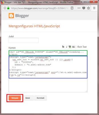 Pastekan kedua kode tersebut menjadi satu. Untuk judulnya Sobat bisa isi atau kosongi saja. Jika sudah klik Simpan.