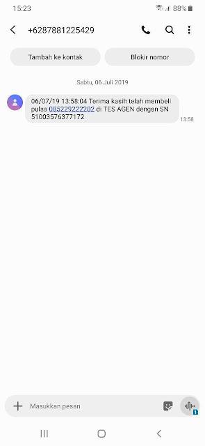 Format SMS Pelanggan/ Token PLN Diteruskan kepada Pembeli