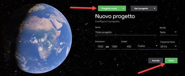 nuovo progetto di google earth studio