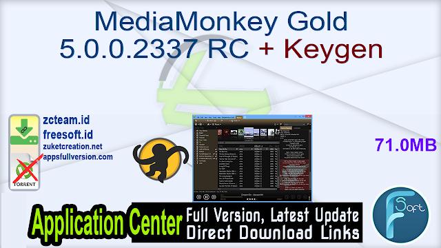 MediaMonkey Gold 5.0.0.2337 RC + Keygen_ ZcTeam