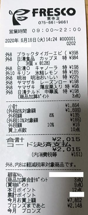 フレスコ 東寺店 2020/6/16 のレシート