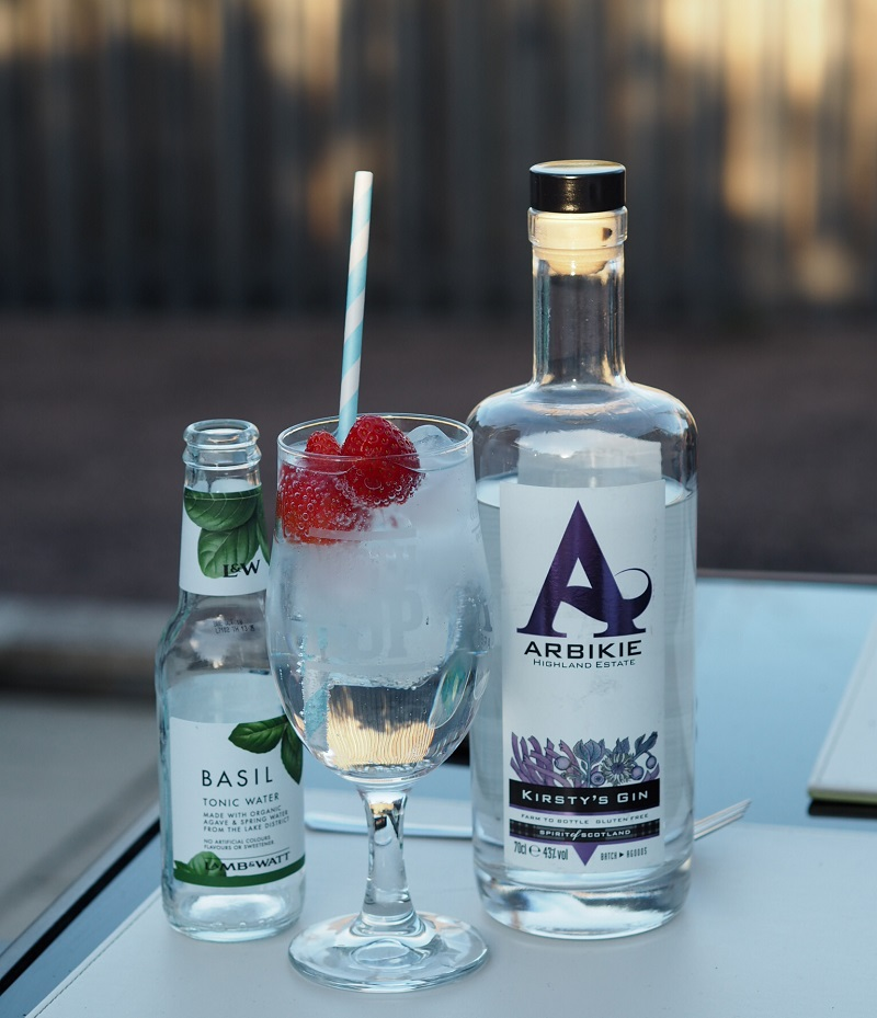 Arbikie Kirsty's Gin with basil tonic and strawberries