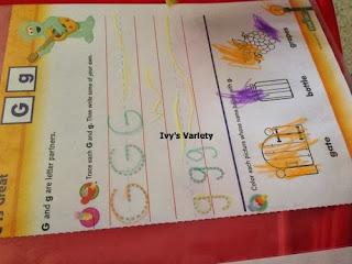Letter G dry erase trace
