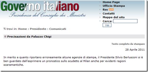 Informare un dovere e il milan fin sul sito del for Sito governo italiano