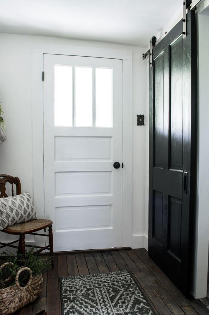 Black sliding barn door