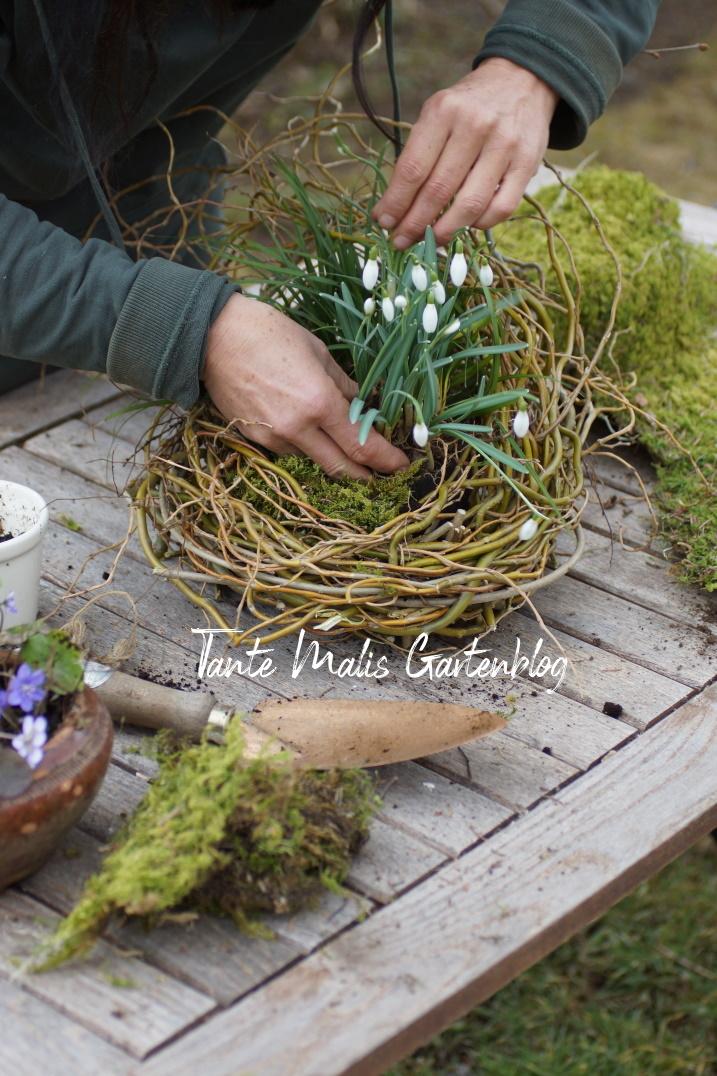 Frühlingsdeko für den Garten bepflanzen einer Schale