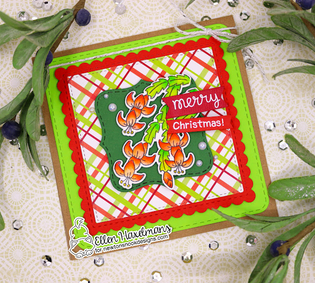 Christmas Cactus Card by Ellen Haxelmans | Christmas Cactus Stamp Set, Meowy Christmas Paper Pad and Frames Squared Die Set by Newton's Nook Designs