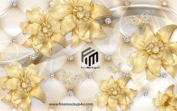 3D Golden Diamond Jewelry Flower Background Wall