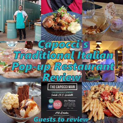 Capoccis Pop Up Italian Restaurant Review collage of photos of food and staff