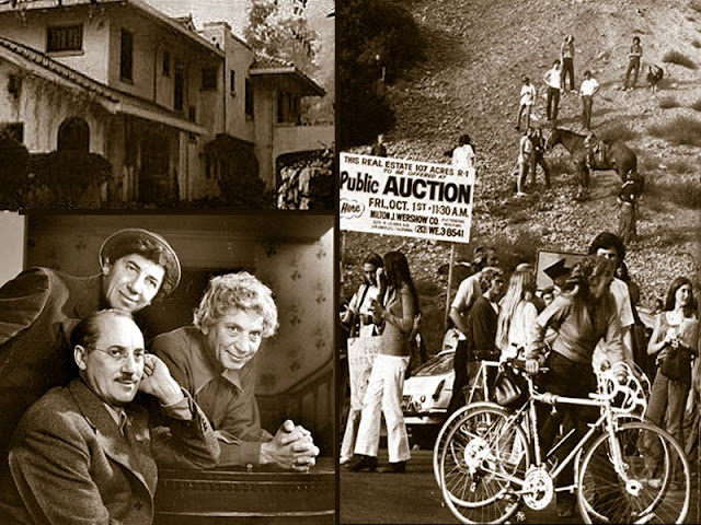 Left Top - Deteriorating Cobb Estate, Left Bottom - Marx Bros., last owners, Right - 1971 public auction