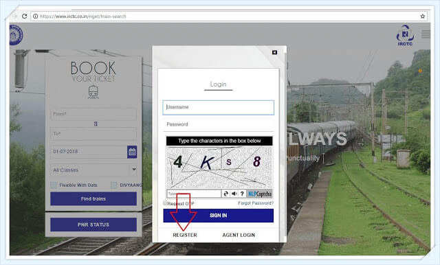 picture of irctc login page with registration link