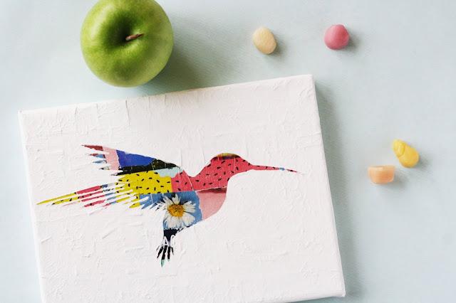 DIY Acrylbild mit Kolibri-Silhouette