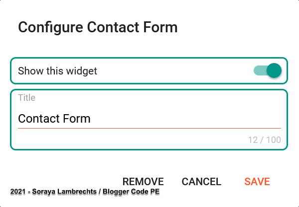 ContactForm gadget control panel