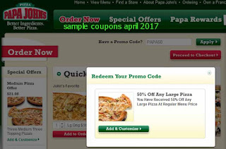Papa Joes Pizza coupons for april 2017