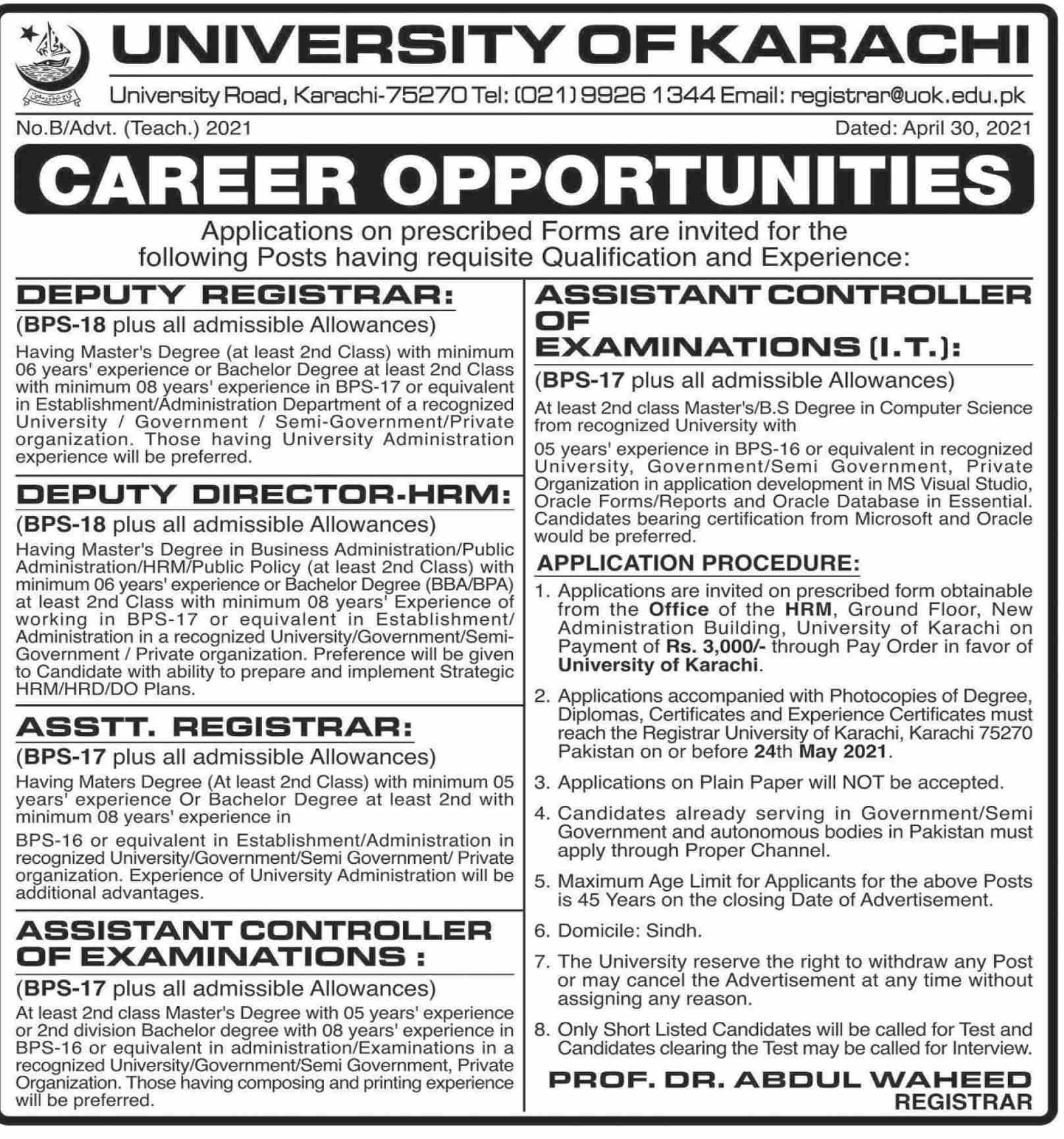 University of Karachi (UOK) Jobs 2021 in Pakistan