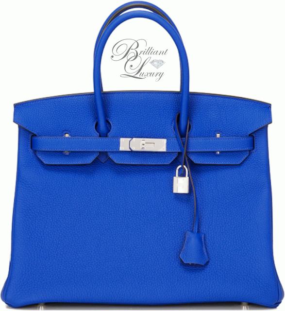 Brilliant Luxury ♦ Hermès Blue Electric Togo Birkin Bag