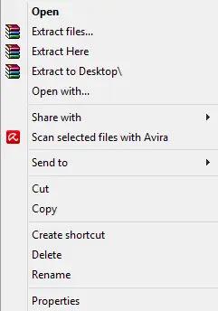 استخراج ملفات محددة في الأرشيف