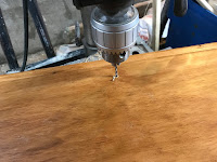 Drilling a hole for the knob
