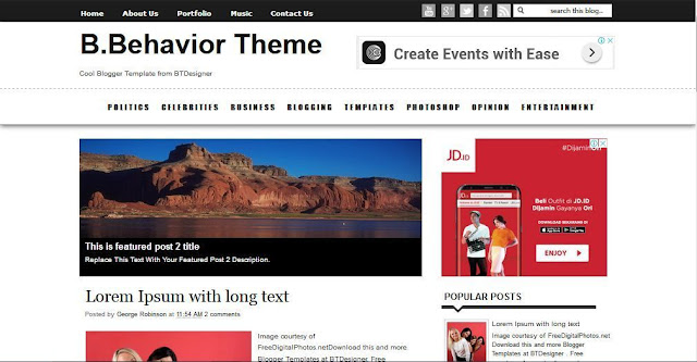 B.Behavior - Template Blog Simple Sederhana Gratis