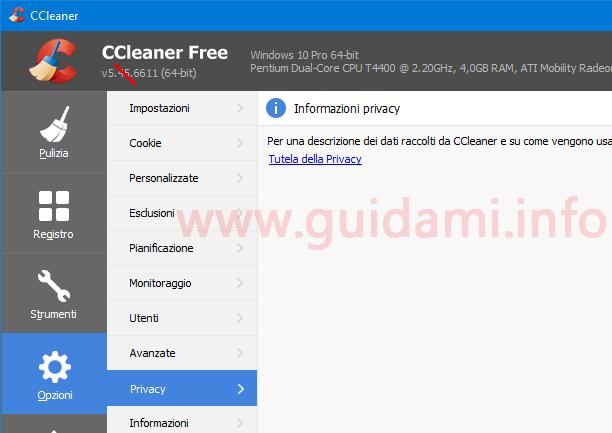 CCleaner 5.45 schermata Opzioni Privacy