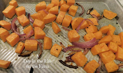 sweet potatoes and red onions