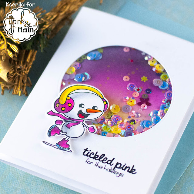 How To Make A Pink Shaker Christmas Card?