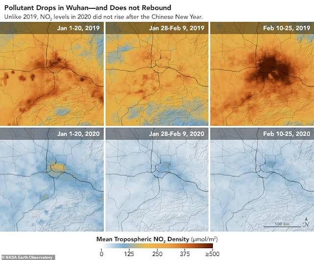 Hình ảnh vệ tinh cho thấy ô nhiễm biến mất khi các nhà máy Trung Quốc đóng cửa