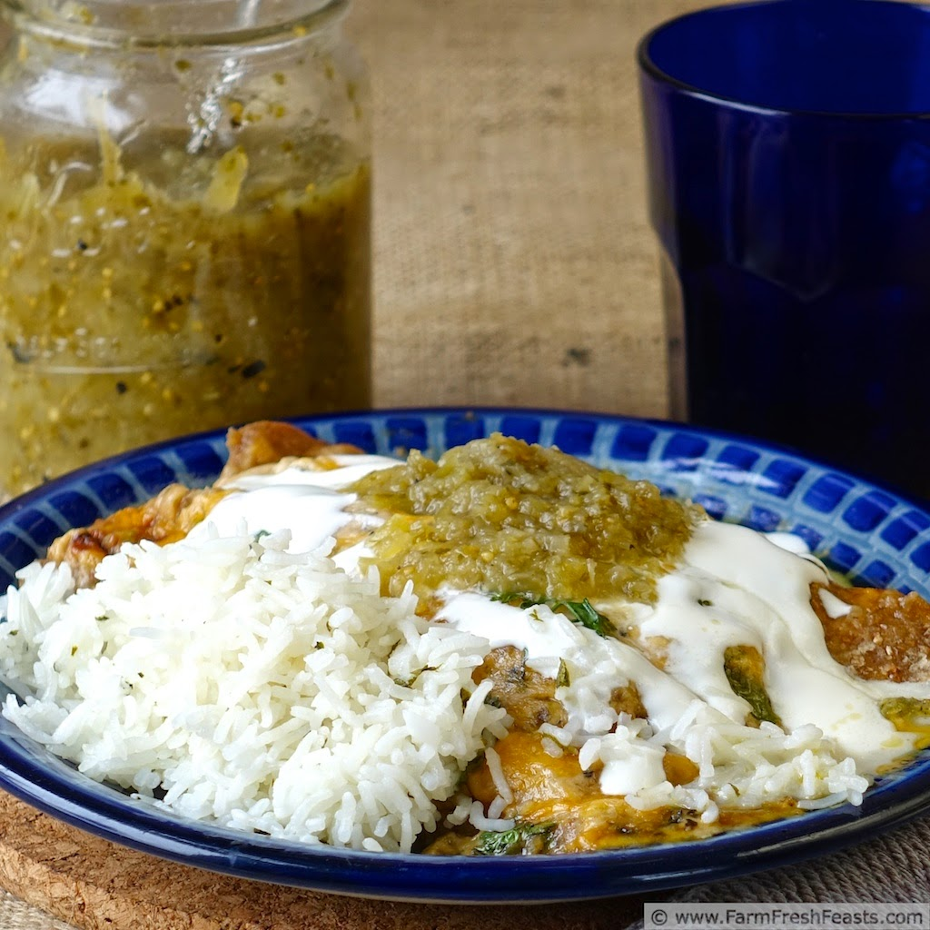 A rich vegetarian dish, these avocado, bell pepper, and caramelized onion enchiladas are spiced with roasted Hatch chiles and covered in plenty of cheese.
