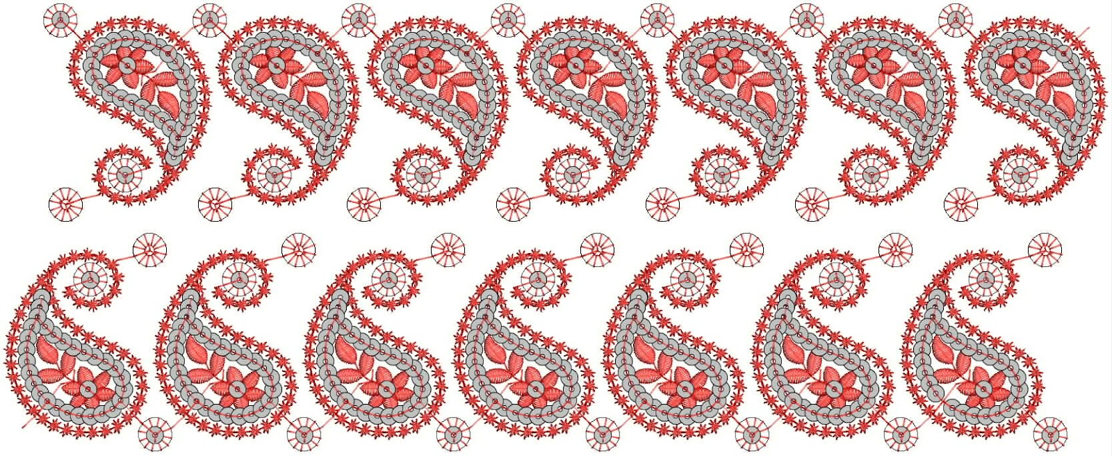 Embdesigntube Border Embroidery Designs For Chiffon Silk Clothing
