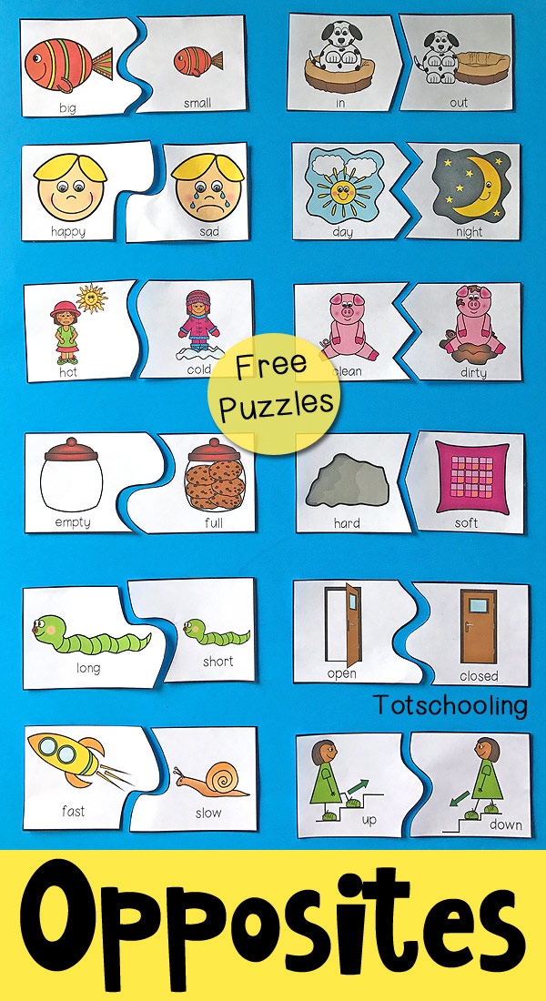 Opposites Puzzles for Preschool | Totschooling - Toddler, Preschool ...