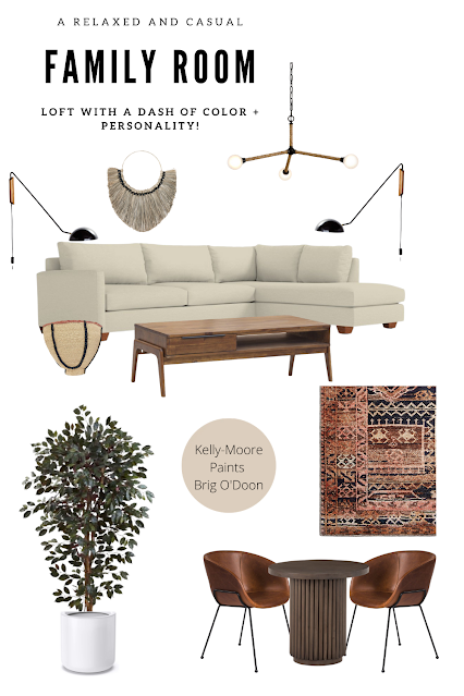 A casual and relaxed family room with COLOR and personality- ORC Week 1