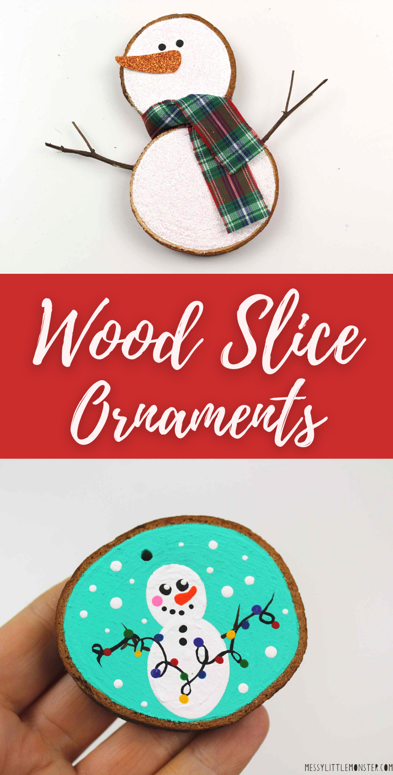 Wood slice ornament ideas. How to make wood slice Christmas ornaments.