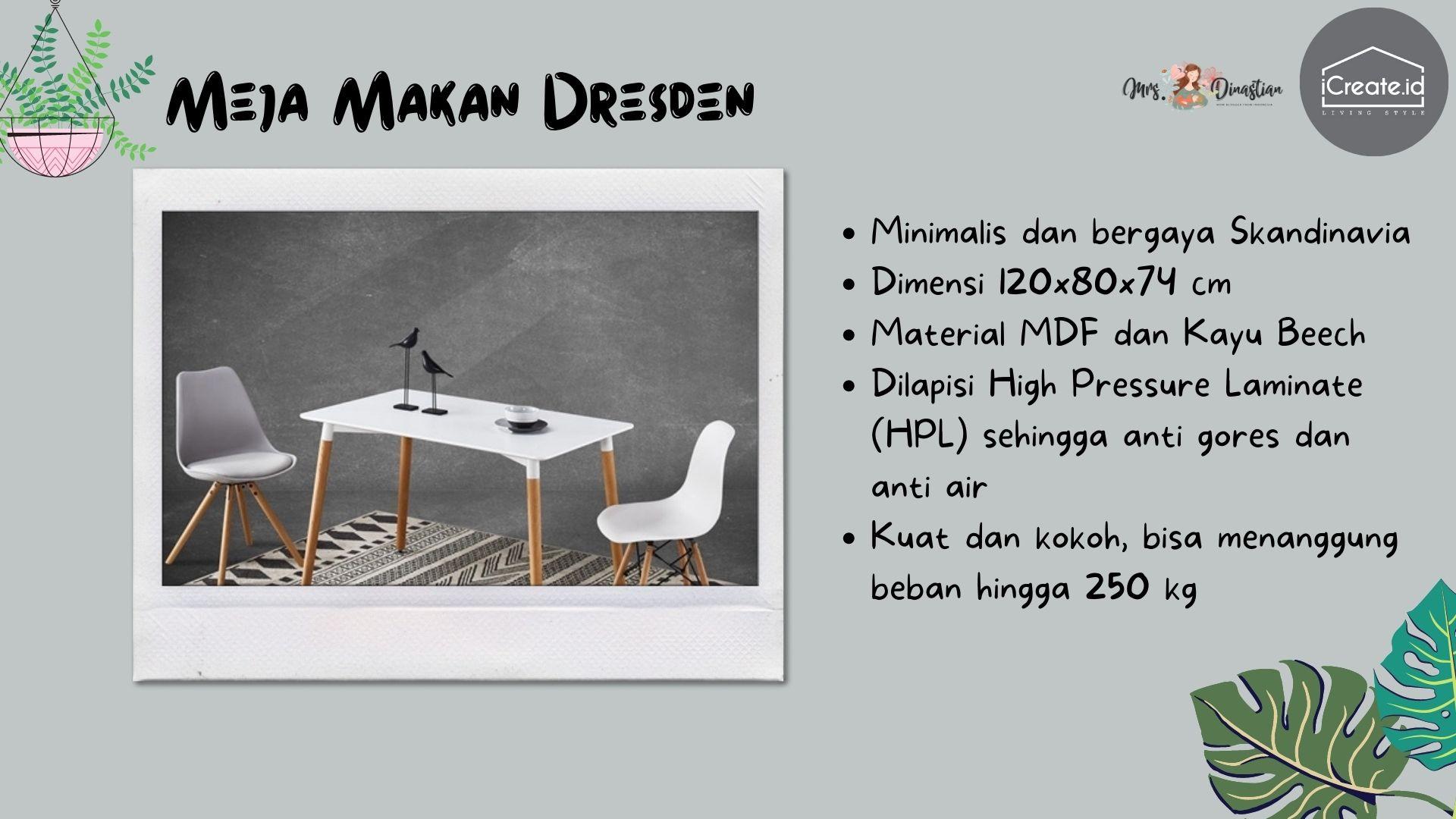 Dresden Meja Makan Minimalis iCreate.id