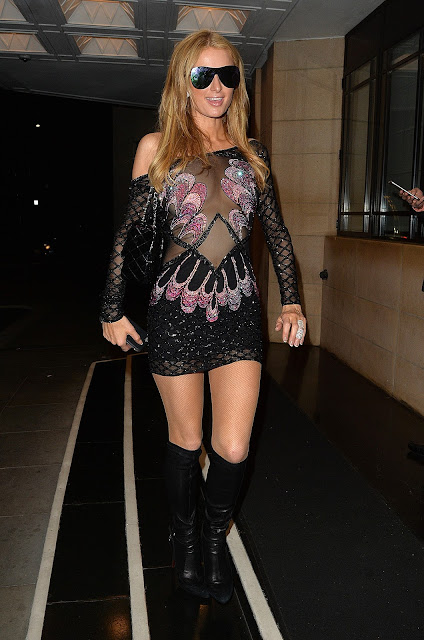 Actress, Singer, Model, @ Paris Hilton spotted after leaving Restaurant 'Ours' in London
