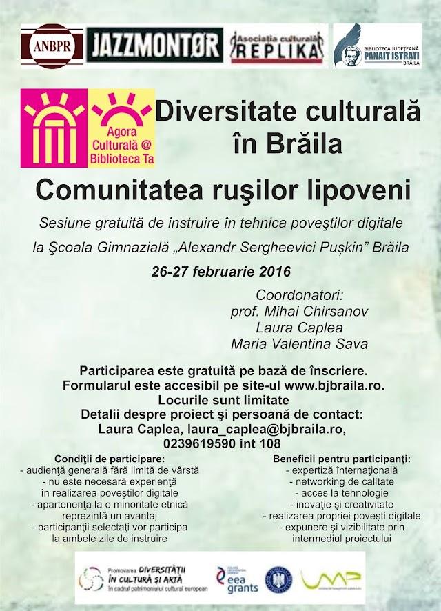 """Povești digitale pe tema """"Diversitate culturală cu rușii lipoveni din Brăila"""""""