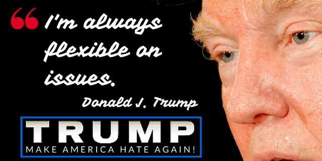 "Republican real-estate developer and reality television personality Donald J. Trump with his quote ""I'm always flexible on issues."" superimposed on the photograph."