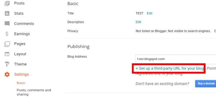 Add sub domain to blogger