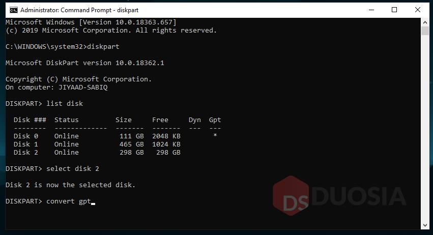 convert mbr ke gpt saat instal ulang