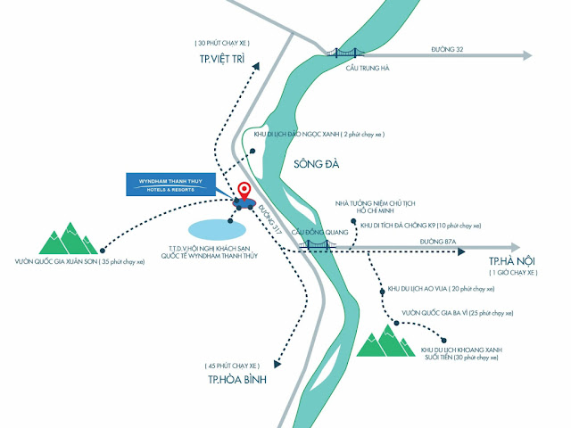 Vị trí Wyndham Thanh Thủy Hotel & Resort dự án khu nghỉ dưỡng khoáng nóng 5 sao