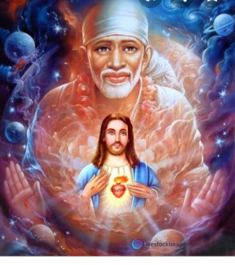 Sai baba image with Jesus christ