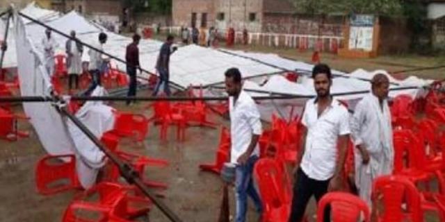 प्रियंका गांधी का टेंट उड़ गया, मंच गिर गया, अफरा-तफरी मच गई   NATIONAL NEWS
