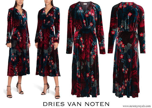 Queen Mathilde wore Dries Van Noten Depo Floral Long Sleeve Velvet Dress