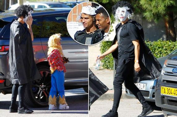 Christiano Ronaldo wears mask and cape to pick his son from school (Photos)