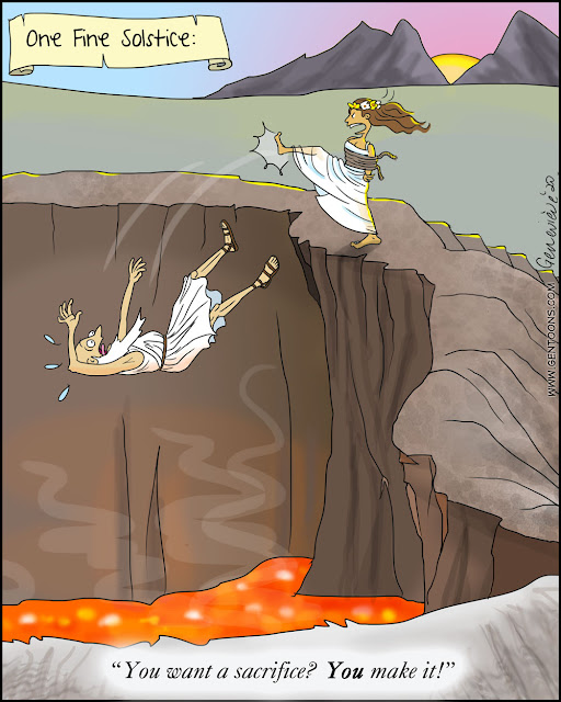 """the edge of a caldera atop a volcano. deep in the pit bright red lava bubbles and steams. the sun is just rising.  a woman in a white ceremonial dress, her arms tied behind her back, has just kicked a man, also in white ceremonial garb, into the crater. he falls screaming in fear towards the lava as the woman shouts, """"you want a sacrifice? YOU make it!"""""""
